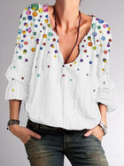 White Polka Dots Cotton-Blend Casual Shirts & Tops
