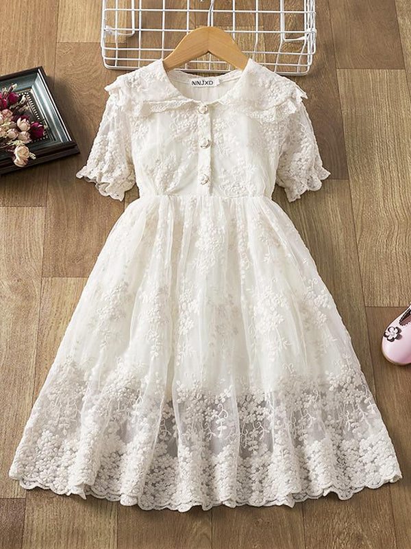 Kids Girls' Active Cute Solid Colored Lace Short Sleeve Knee-length Dress White