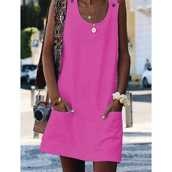 Round Neck Women  Shift Cotton-Blend Dresses
