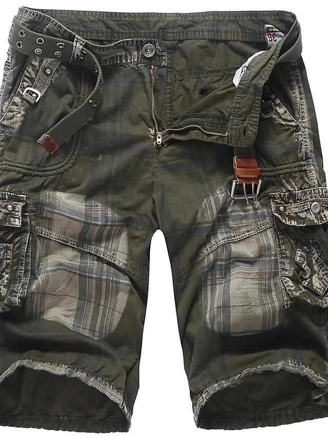 Men's Street chic Punk & Gothic Going out Weekend Shorts Tactical Cargo Pants - Plaid / Checkered Solid Colored Sporty Outdoor Army Green Dark Gray US34 / UK34 / EU42 / US36 / UK36 / EU44 / US38