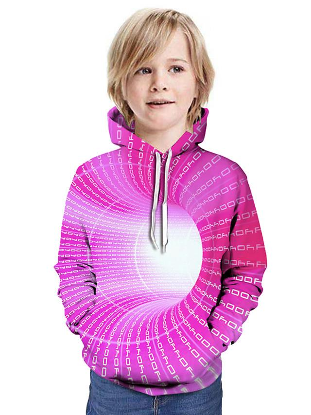 Kids Boys' Active Street chic 3D Patchwork Print Long Sleeve Hoodie & Sweatshirt Purple