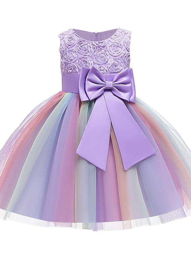 Kids Girls' Active Sweet Patchwork Bow Pleated Sleeveless Knee-length Dress Purple