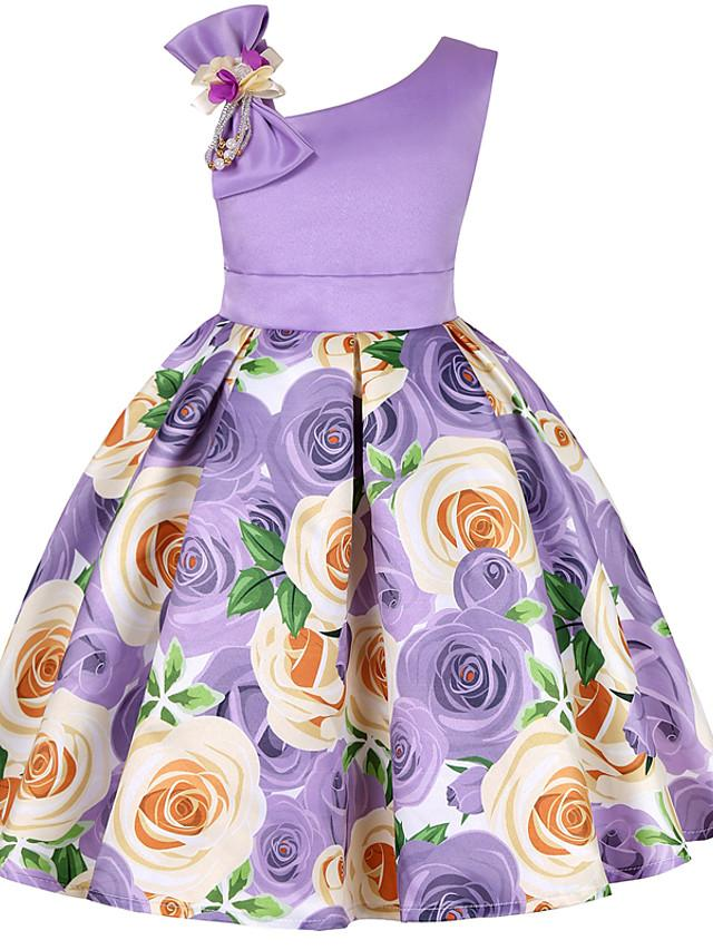 Kids Toddler Girls' Active Sweet Christmas Daily Holiday Floral Color Block Solid Colored Print Sleeveless Above Knee Dress Purple