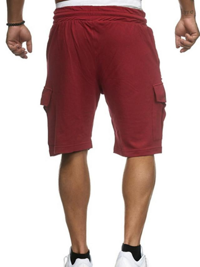 Men's Basic Daily Shorts Pants - Solid Colored Drawstring White Red Green M / L / XL