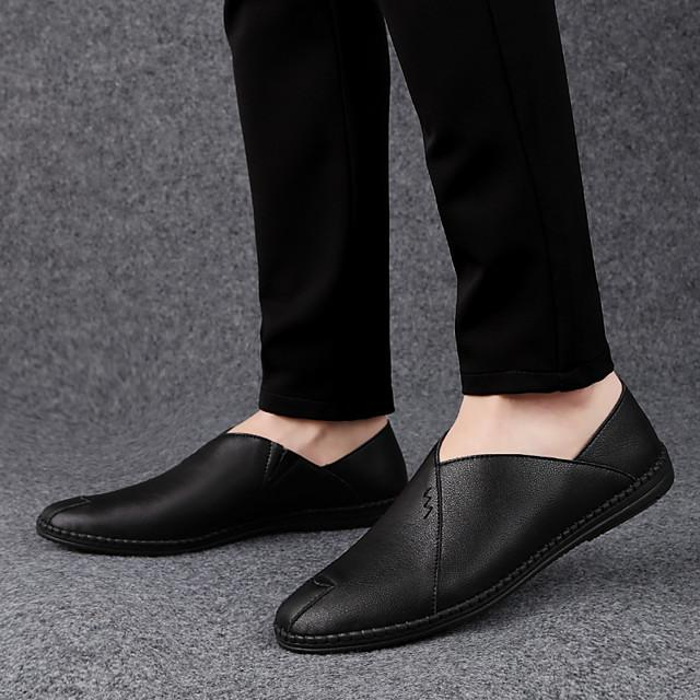 Men's Leather Shoes Nappa Leather / Cowhide Spring & Summer Casual Loafers & Slip-Ons Breathable Black / Light Red / Dark Brown / Driving Shoes
