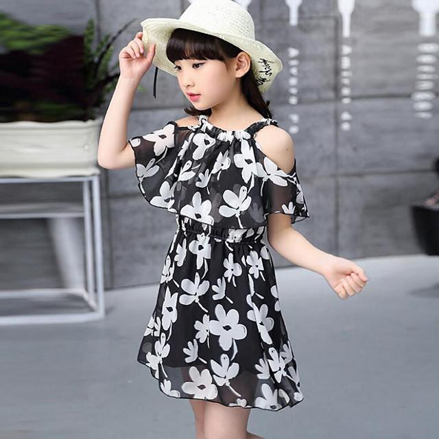 Kids Girls' Street chic Daily Floral Print Short Sleeve Dress Black