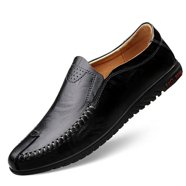 Men's Comfort Shoes Summer / Fall Daily Loafers & Slip-Ons Cowhide Light Brown / Dark Brown / Black