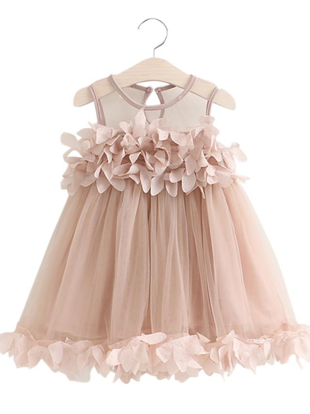 Kids Girls' Dusty Rose Solid Colored Long Sleeve Above Knee Dress White
