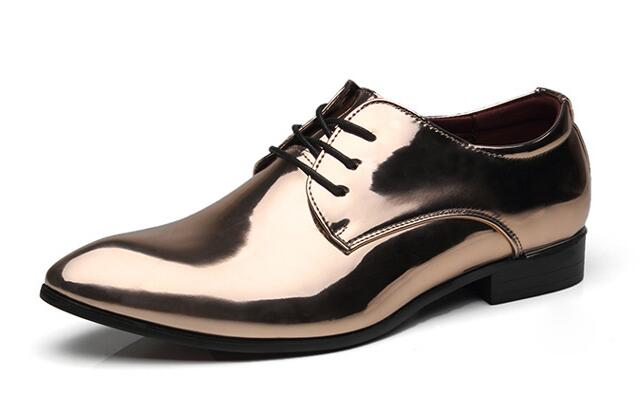 Patent Leather Luxury Pointed Toe Oxford Flats Lace Up Men Wedding Business Shoes