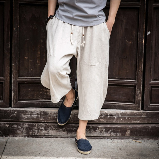Men's Linen trousers Elastic Waist Wide Leg Harem Baggy Patchwork Linen Capri Trousers Pants