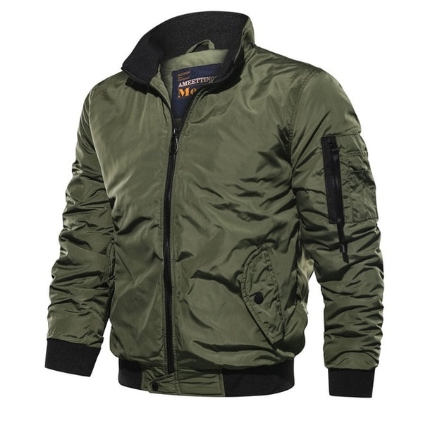 Men ' s Military Bomber Jackets Men Casual Solid Zipper Pilot Jacket New Thin Stand Collar Male Coat Slim Fit