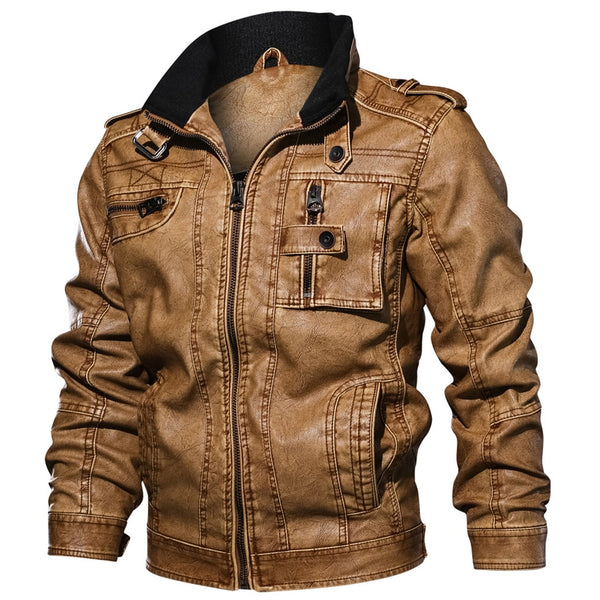 Men Slim Fit Casual Outwear Bomber Jacket Winderbreaker PU Motorcycle Leather Jackets