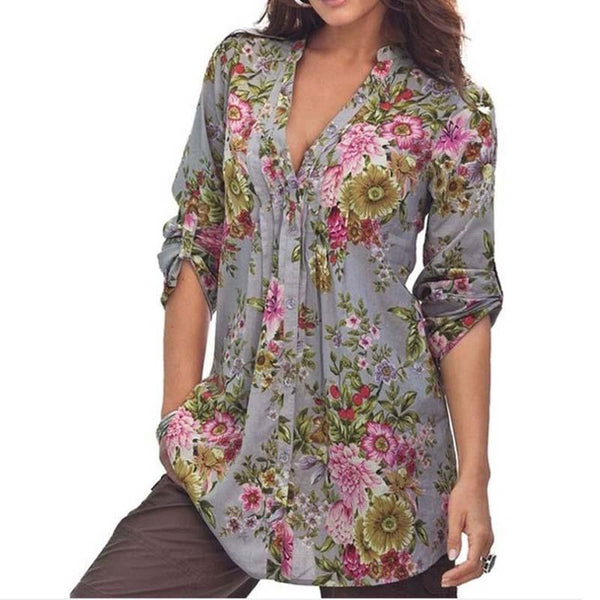 Women Plus Size Flower Print V Neck Blouse Loose Chiffon Shirt Blouse