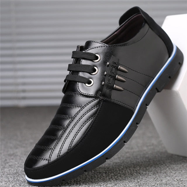 Men Genuine Leather Shoes Design Elastic Band Solid Tenacity Comfortable Men's Shoes