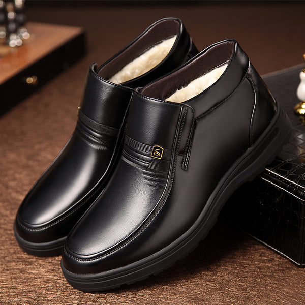 Man Winter Boots Quality Soft Leather Father Shoes Brands White Wool Inner Boots Man Snow Leather Boots