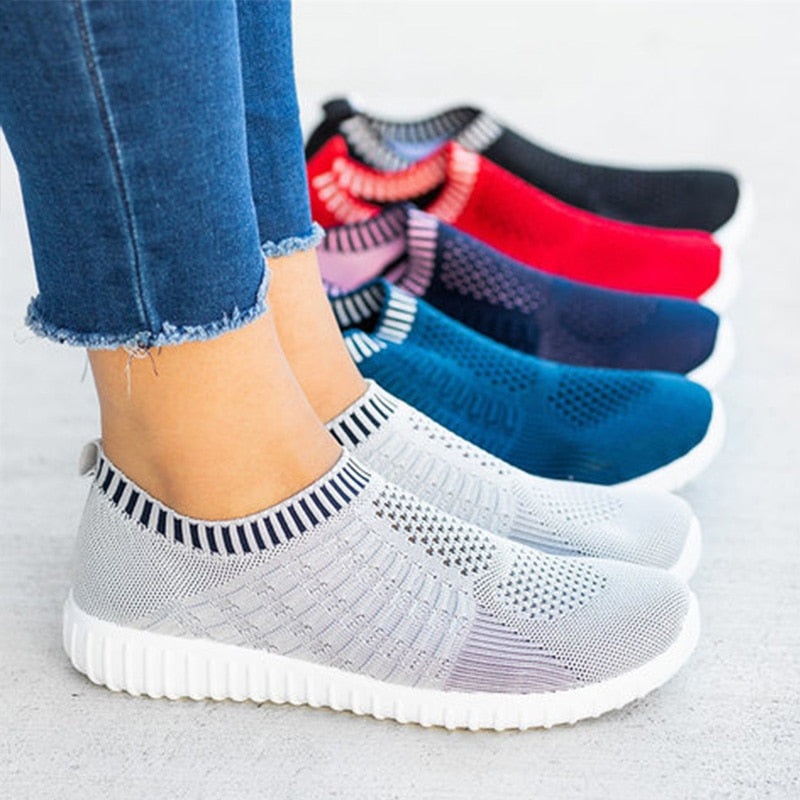 Women Knitting Flat Autumn Sneakers Slip On Comfort Loafers Female Hollow Out Platform Casual Shoes