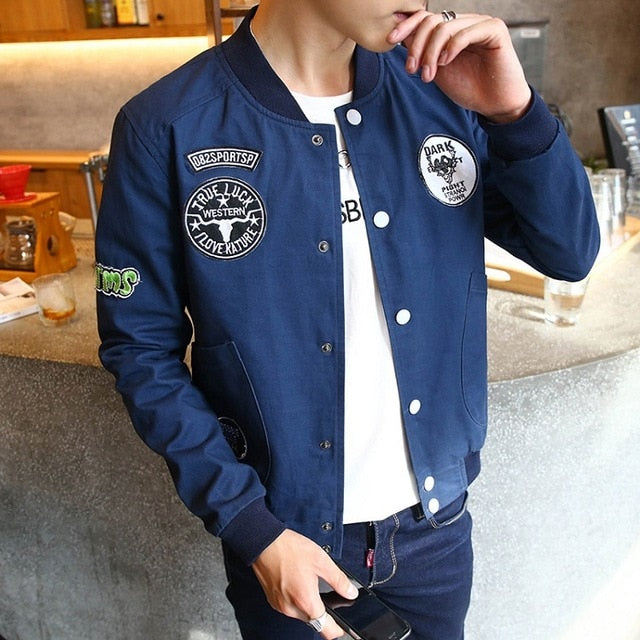 Spring Summer Bomber Jacket Men Outwear Male Stand Collar Thin Breasted Coat Man Casual Print Baseball Jacket M-4XL,ZA236