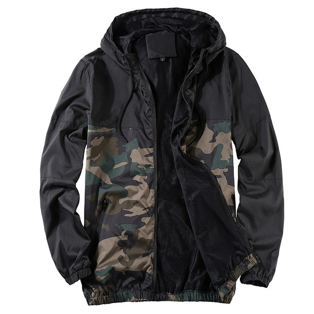 Men's New Youth Camouflage Patchwork Hood Coat Slim Fit Jacket
