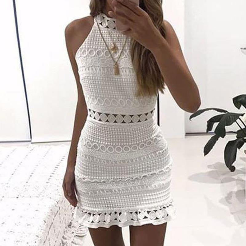 Women Lace Dress Sleeveless Ruffle High Neck Hollow Out Dresses