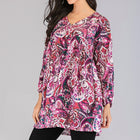 S-5XL Plus Size Women Totem Dot Print Blouse Tops Casual Loose V Neck Long Sleeve Blouses