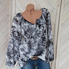 Women Casual V-Neck Blouse Long Sleeve Floral Print Blouse Tops