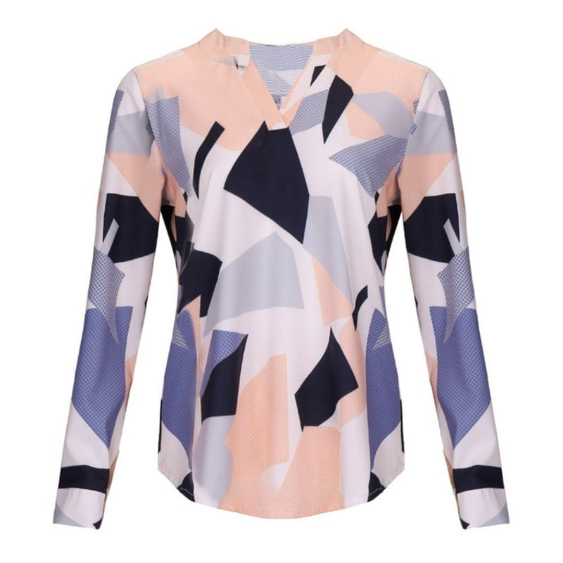 Women Casual V-neck Geometric Print Blouse Long Sleeve Blouses Shirts