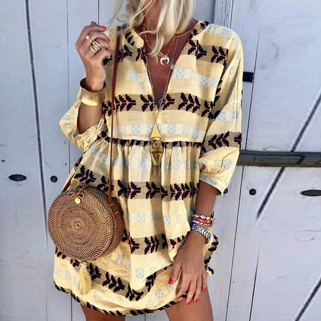 Women Casual Printed Three Quarter Sleeve Autumn Sexy V-neck Mini Party Vintage Plus Size Dresses