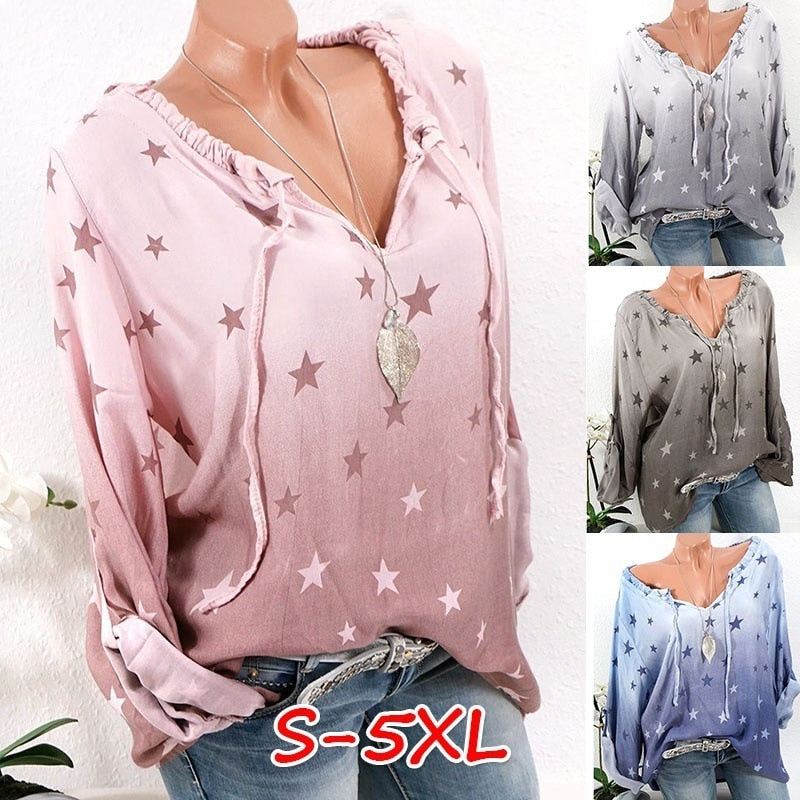 Women's Casual V-neck Blouse Long Sleeve Star Print Tops