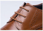 High Quality Genuine Leather Men Brogues Shoes Lace-Up Bullock Business Oxfords Shoes