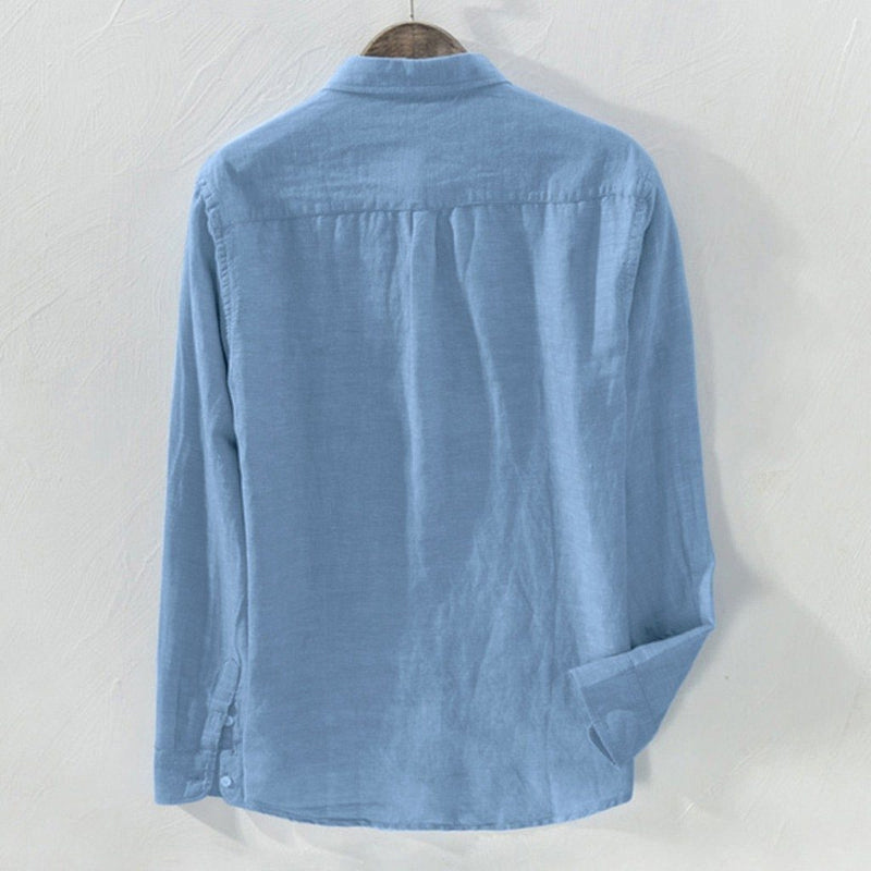Men's Baggy Solid Cotton Linen Long Sleeve Shirt