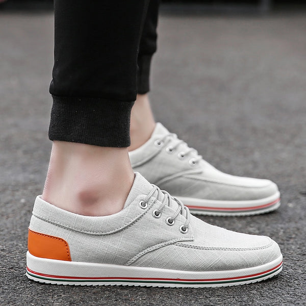 Comfortable Casual Shoes Mens Canvas Shoes For Men Lace-Up Brand Fashion Flat Shoes
