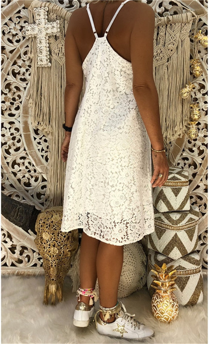 Women Large Size Solid Color Dresses Sleeveless V neck Sling Lace Loose Dress