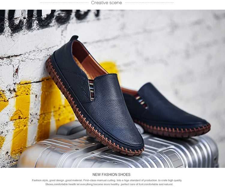 Leather Men Shoes Slip On Shoes Leather Loafers Mens Moccasins Shoes Italian Designer Shoes