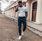 Men T Shirt Striped T Shirt Mens Clothing Trend Slim Fit Short Sleeve Casual Mens Top Tee Shirt