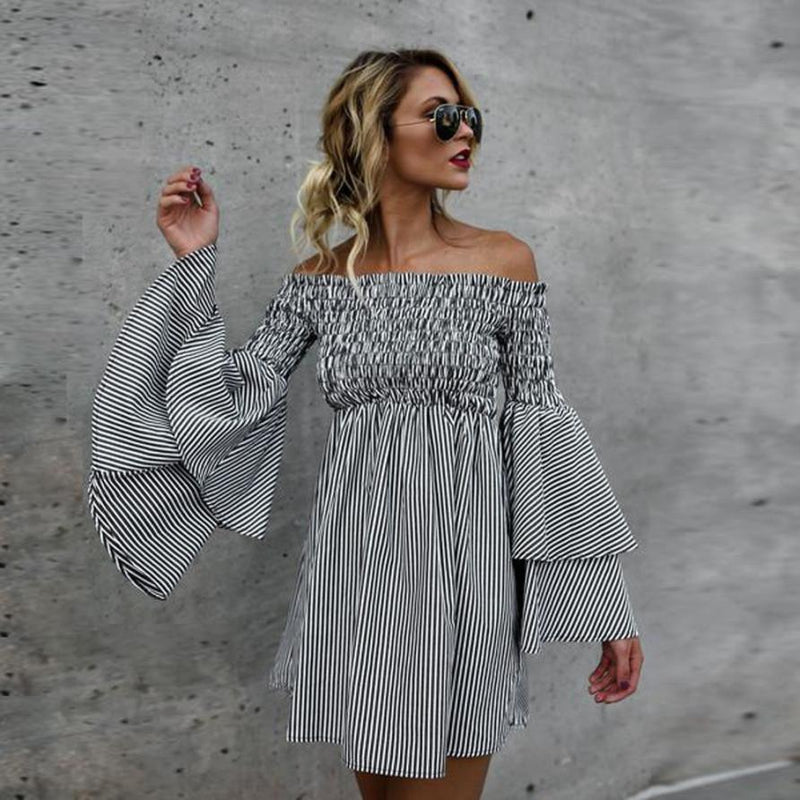 Women Bohe Holiday Off Shoulder Stripe Party Ladies Casual Dress Long Sleeve