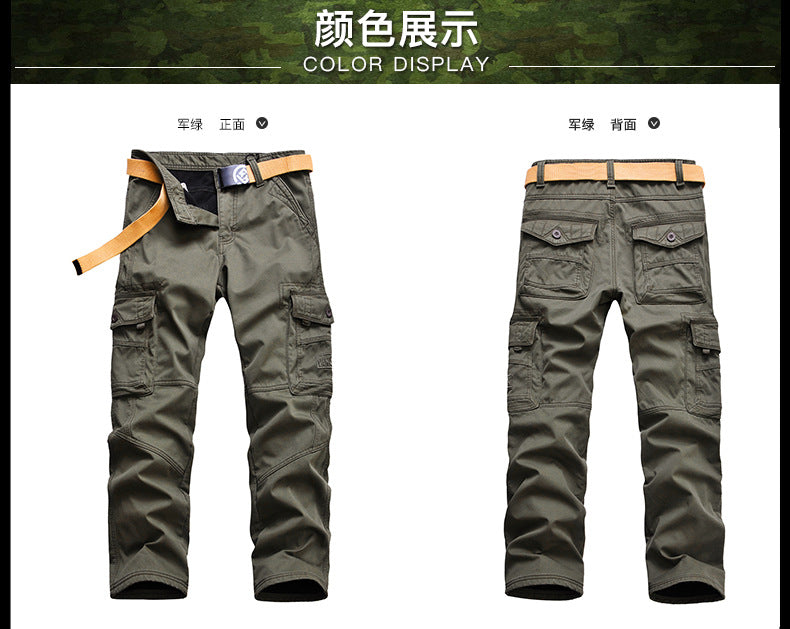 Mens Pants Thickening Trouser Velvet Winter Warm Jogger Military Style Army Casual Fleece Coverall Lined Pants