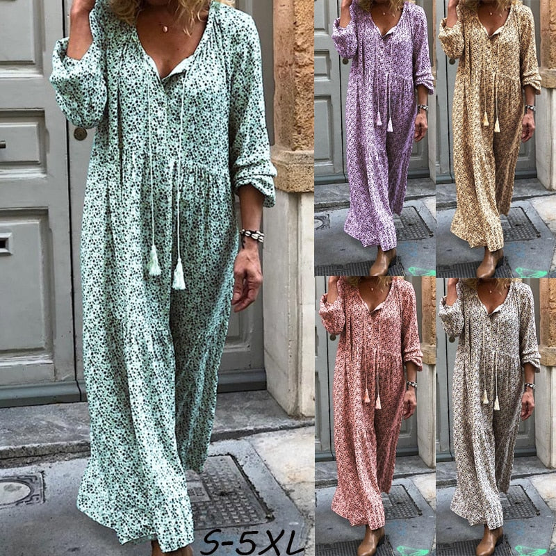 Plus Size Boho Printed Vintage Dress Loose V-neck Long Sleeve Maxi Dresses