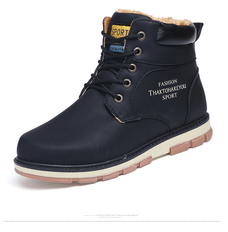 Men Keep Warm Winter Boots Waterproof Casual Shoes Working Fashion pu Leather Snow Boots