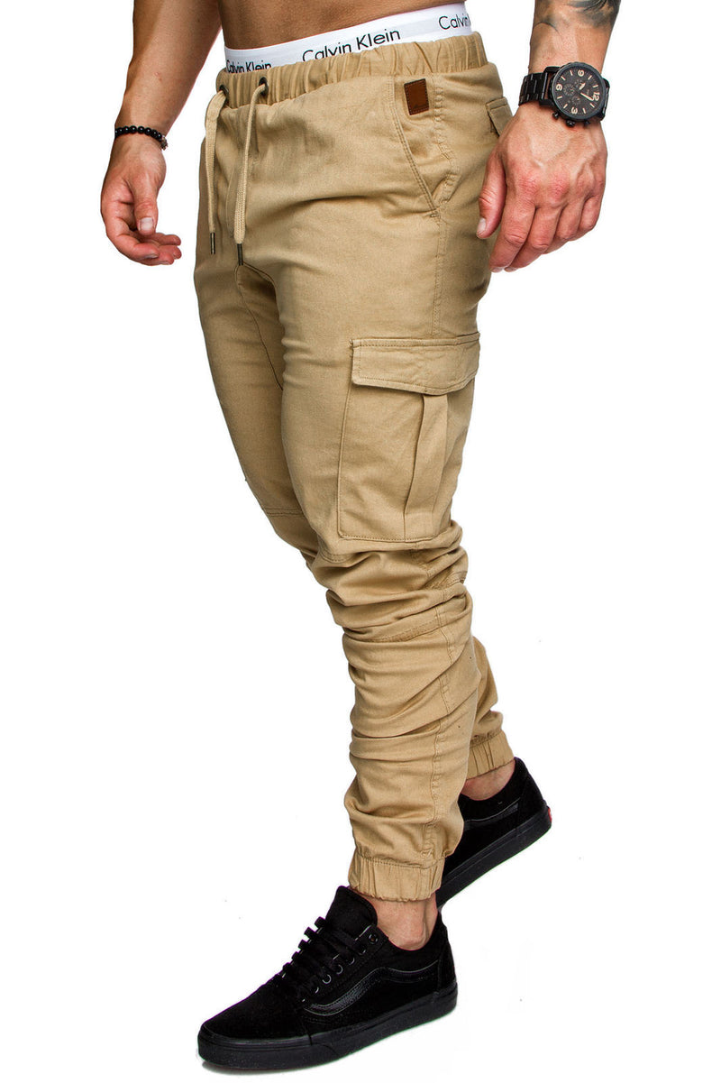 Men Casual Joggers Solid Color Pants Cotton Elastic Long Trousers pantalon homme Military Army Cargo Pants