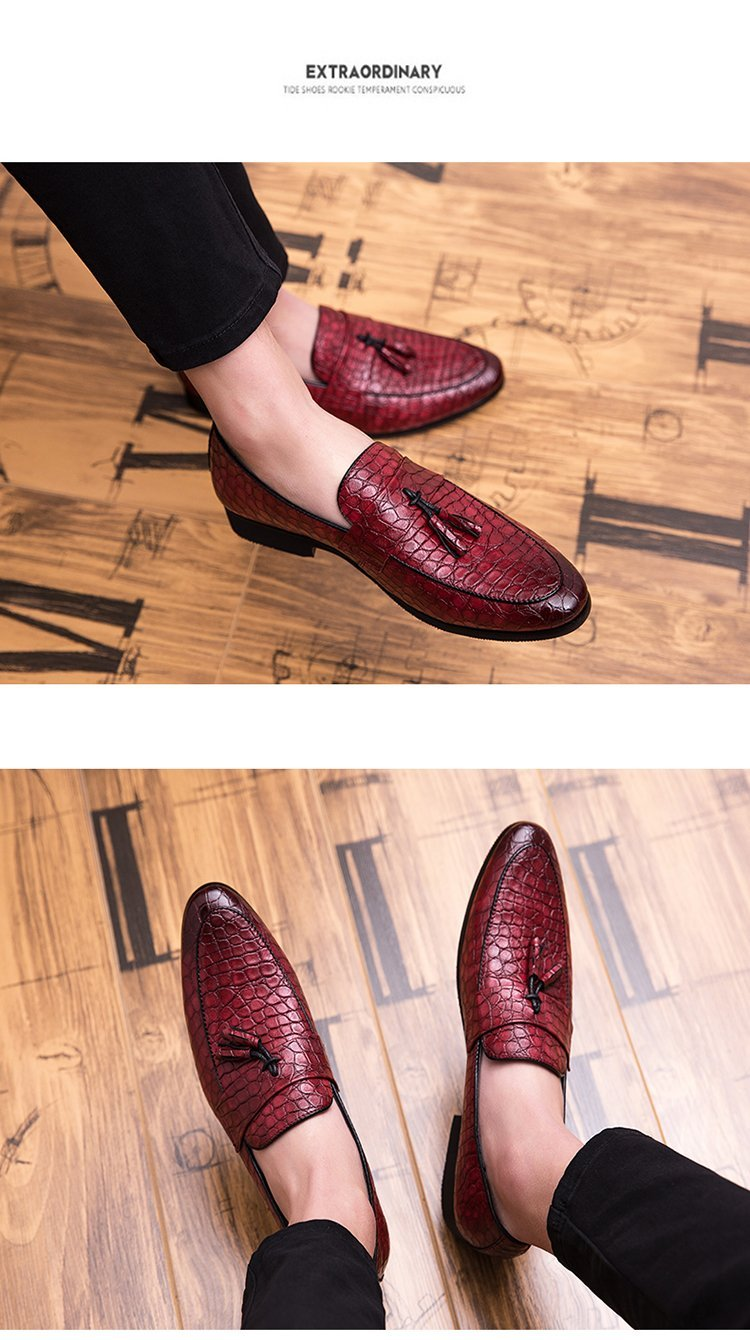 Men Formal Dress Shoes Luxury Leather Pointed Toe Loafers Shoes