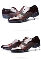 Men Leather Shoes Oxford PU Leather Breathable Business Flat Shoes
