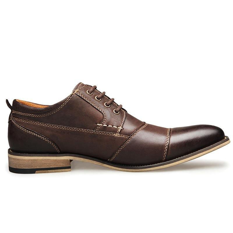 Men Dress Shoes Handmade Genuine Leather Lace-up Oxford Shoes