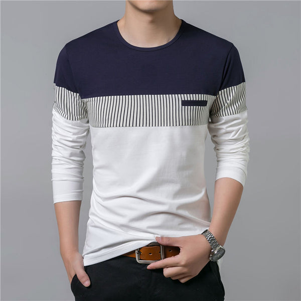 Men Long Sleeve O-Neck Patchwork Cotton Tee T-Shirt Tops
