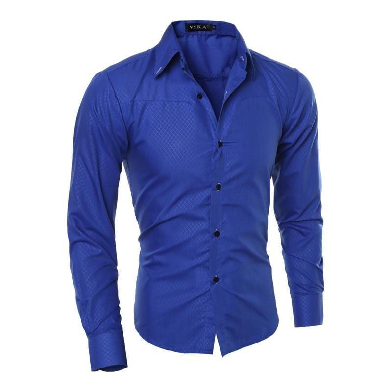 Brand Design Men Fashion Cotton Solid Long Sleeve Shirt