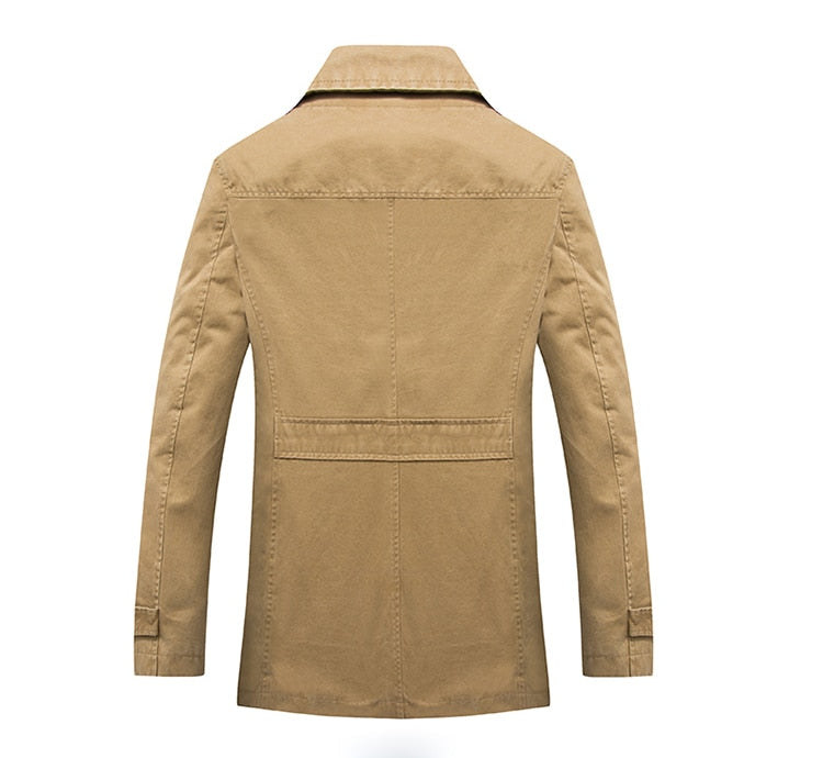 Men's Business Casual Long Cotton Trench Coat Jacket Men Winter Brand Classic Iconic Trench Breasted Overcoat