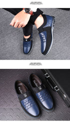 Leather Men Casual Shoes Mens Loafers Moccasins Breathable Slip on Black Driving Shoes