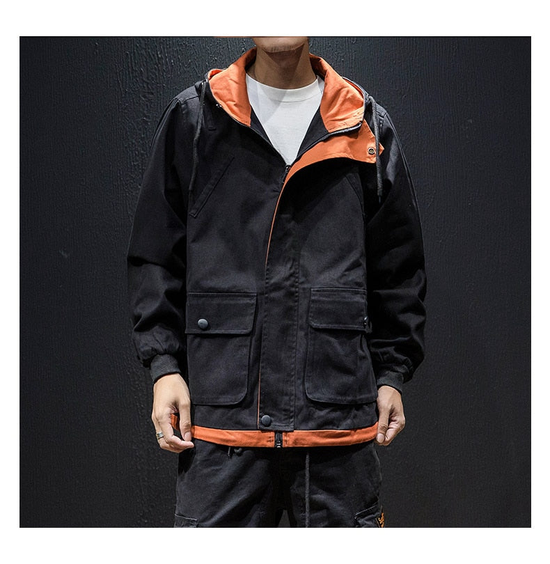 Contrast Color Outerwear Coat Mens Clothing Streetwear Male Jacket Men High Street Hoodies Jackets Fashion Clothes