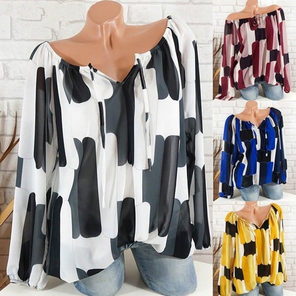 Women Plus Size Printed Blouse Loose Collar Long Sleeve Chiffon Tops