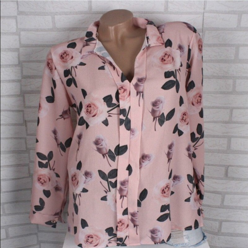 Women Long Sleeve Turn Down Collar Blouse Shirt Chiffon Casual Tops