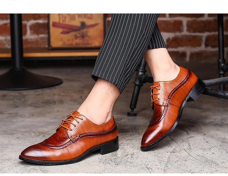 Men Dress Shoe Pointed Lace Up Designer Luxury Fashion Formal Shoes